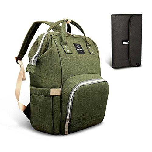 Pipibear Mutifunktionale Wickeltasche Rucksack, Wasserdichte Wickelrucksack Tasche, Große Reisetasche für Mutter und Baby (Oliv-Grün)