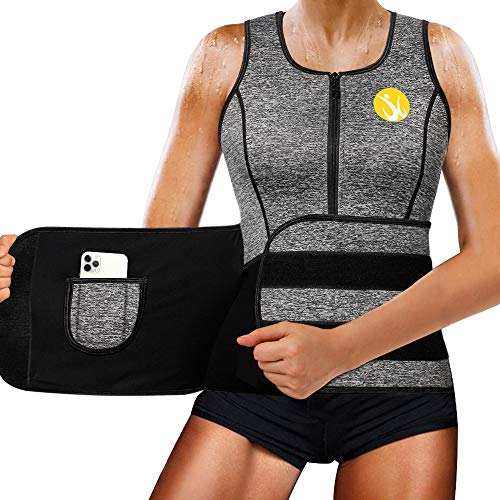 Junlan Women Sauna Waist Trainer Vest Workout Neoprene Tank Top Body Shaper Cincher for Women(Grey, 3XL)