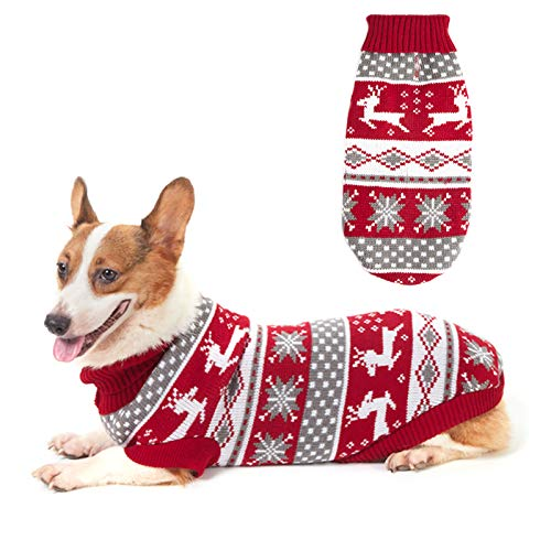 ZIFEIPET Dog Christmas Sweater Cute Reindeer Snowflake Knit Sweater Pet Holiday Cloth Soft Warm Turtleneck Knitwear for Large Dogs