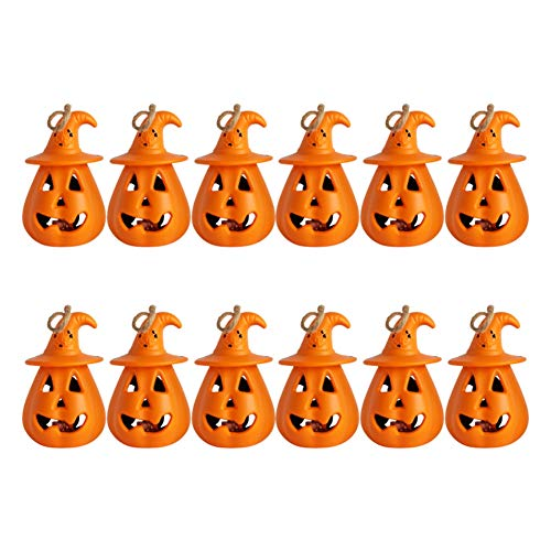 12 Stück Halloween Kürbis Laterne, Kürbis Lampe Kürbis LED Licht Kleine Hängende Teelichter Für Indoor Outdoor Garten Dekor