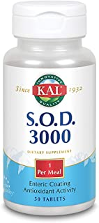 KAL S.O.D. 3000   Superoxide Dismutase and Catalase   Antioxidant Activity   Enteric Coated for Maximum Assimilation   Lab Verified   100 Tablets