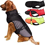 Etechydra Chaqueta para perro para perros grandes, súper impermeable, para invierno, cálido, chaleco con agujero para arnés, ropa reflectante para perros con hebilla ajustable, color negro y gris