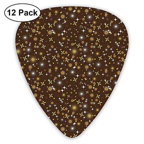 Gitaar Picks12 stks Plectrum (0,46 mm-0,96 mm), ster met verschillende vormen hemelse elementen sterrenbeelden Galaxy Universe,Voor uw Gitaar of Ukulele