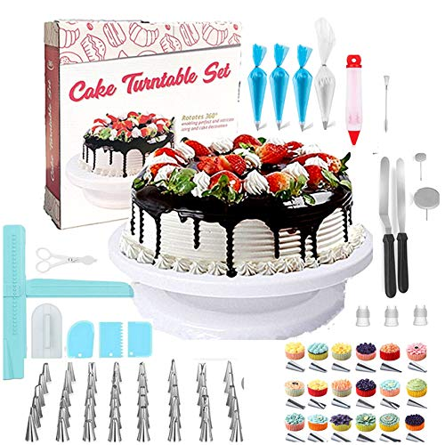 Cake Decorating kit/ Baking Supplies 174pcs w/ Cake Rotation turnable Stand Frosting, Piping Bags Back kit Set Icing Spatulas Pastry Tools