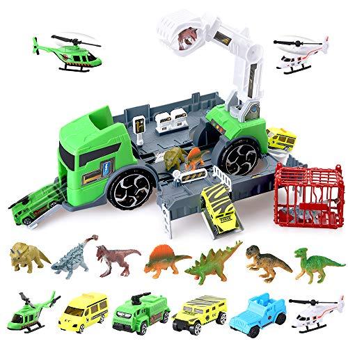 BeebeeRun Dinosaurios Juguetes Dinosaurios Camión Dinosaurio del Juguete Camión Transportador Educativo Juguete para Niños