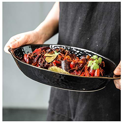 YYF Plateau à oreilles en céramique noir créatif - Plateau/bol Dim Sum de cuisson Vintage anti-brûlure 7,75 à 11 pouces (Taille : 28.5cm)