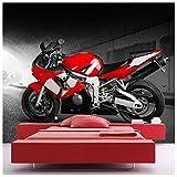 azutura Moto Rouge Papier Peint Photo Motorsport Papier Peint Garçons Chambre à Coucher Décor Disponible en 8 Tailles X-Grand Numérique