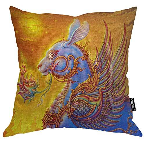 Funda de almohada de estilo tailandés con diseño de conejo, decoración de algodón de lino y algodón decorativo