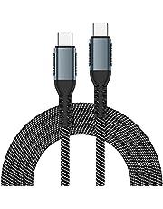 HRNAKDFKL USB C till USB C-kabel, USB 2.0 snabb laddning typ C USB C snabbladdningskabel 100 W 3 A kompatibel med Data-kabel Samsung Galaxy S20 S10 S9, Huawei P40 P30, Google Pixe, Sony Xperia XZ