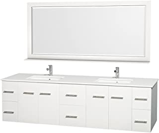 Wyndham Collection Centra 80 inch Double Bathroom Vanity in Matte White, White Man-Made Stone Countertop, Undermount Square Sink, and 70 inch Mirror - coolthings.us