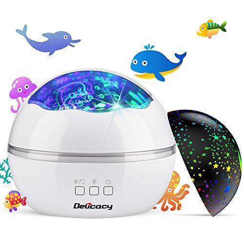 Projektor Lampe, Delicacy Nachtlicht Kind 2 in 1 Nachttischlampe Ozean Projektor & Sterne Nachtlicht 360° Grad Rotation mit 8 Farben Neuer Typ Sternenhimmel Projektor zum Schlafen Entspannen