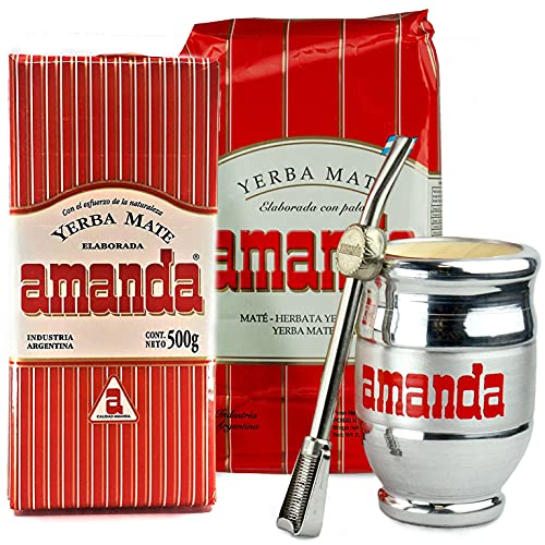 Juego de té mate: Yerba Mate Tee Amanda Tradial 1,5 kg | Acero inoxidable / Palo Santo Madera Mate – Calebasso | Pajita de acero inoxidable – Bombilla | Cepillo de limpieza