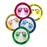 ✔️PROMOTE SOCIAL DISTANCE FOR CHILDREN - 5 PK- The 12-inch Round 6 feet social distance floor decal comes in 5 vibrant colors to choose from (Pink, Orange, Blue, Green, or Yellow). It is a great eye catcher for children to promote compliance to the 6...
