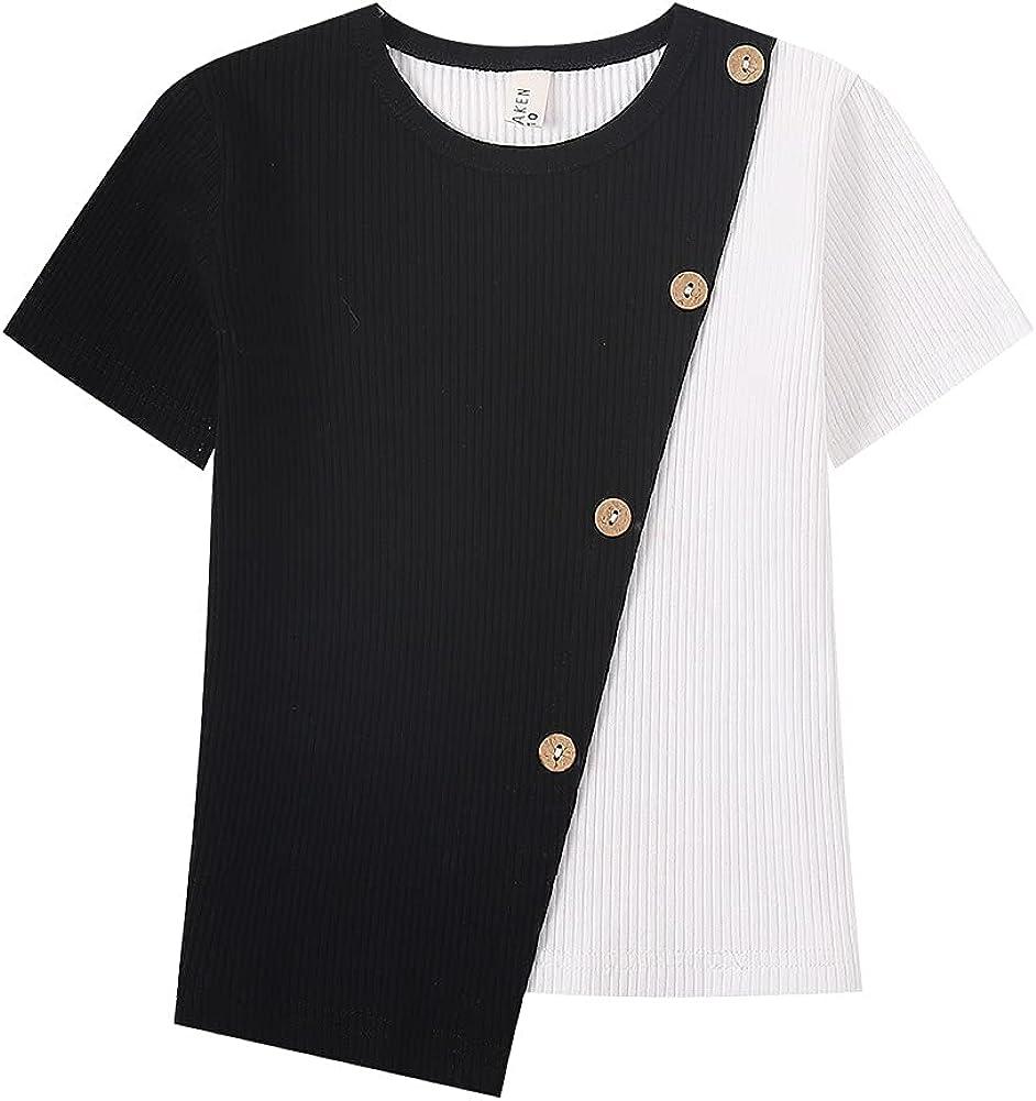 WELAKEN Boy & Girl's Short-Sleeve T-Shirts Ribbed Cotton Tops, Tees & Blouse for Girls