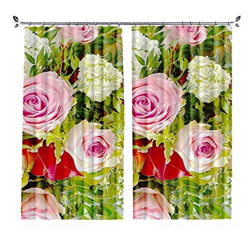 Daesar Cortinas Habitacion Opacas,Rosa Verde Cortinas Poliester Habitacion 2 Paneles Flores Rosas,Tamaño de Cortina 214x160CM