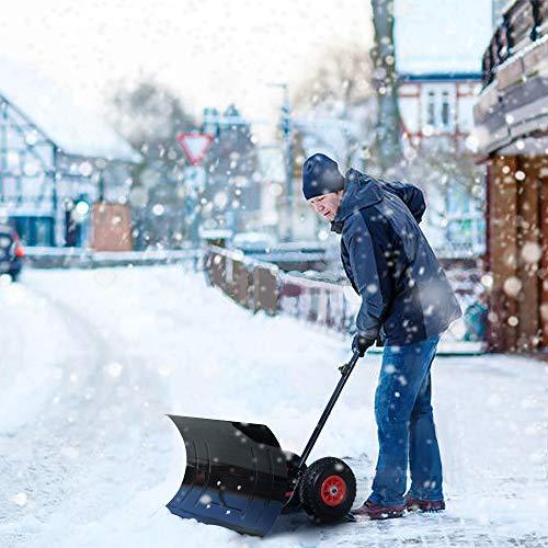 HENGMEI Schneeschieber mit Rollen höhenverstellbar Schneeräumer Schneeschaufel Schneeschild Schneefräse Schneepflug für Auffahrten Garten Gehwege - 5