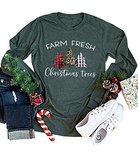 Farm Fresh Christmas Plaid Trees T-Shirt for Women Funny Letter Print Casual Long Sleeve Graphic Tee Tops (Dark Green, X-Large)