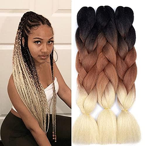 FanYu 3Packs Flechten von Haaren Ombre Jumbo Flechten Kanekalon Flechten Haarverlängerungen 24 Zoll Flechten Haar Synthetisches Haar für Häkeln Twist Flechten Haar (Schwarz-Braun-Blond)