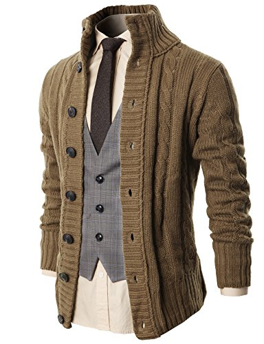 H2H Mens High Neck Series Shawl Collar Cardigan Sweater Beige US S/Asia M (KMOCAL020)
