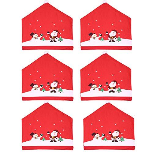 Webrosistol Fundas Silla Navidad Novedad Papá Noel Sombrero Rojo Adornos Mesa Navideña Forros de Sillas