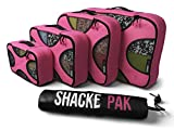 Shacke Pak - 5 Set Packing Cubes - Travel Organizers with Laundry Bag (Precious Pink)