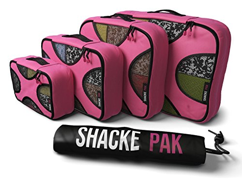 Shacke Pak - 4 Set Packing Cubes - Travel Organizers with Laundry Bag (Precious Pink)