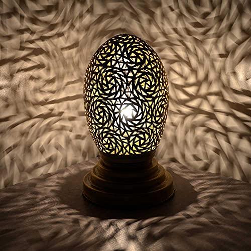 Lámpara de mesa oriental Bedda, color dorado, altura de 25 cm, lámpara de mesita de noche moderna, de latón, hecha a mano, casquillo E14, incluye interruptor, 1 foco, vintage, 350351