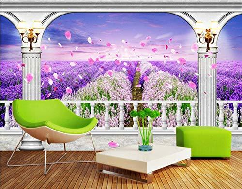 NIdezuiai behang, lavendel Romeinse zuil hek werk serie aanpassen van de 4D-behang muur decoratie kunst Hd-print poster afbeelding voor de woonkamer slaapkamer Hotel Cafe Home Decor grote zijde wandafbeelding 160cm(H)×250cm(W)