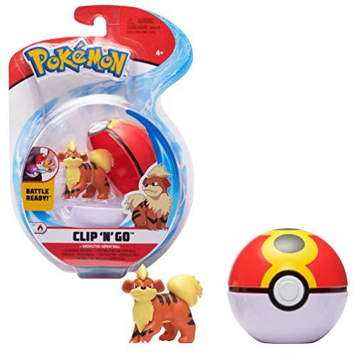Pokémon Clip 'N' Go Growlithe Fukano & Pokéball, Enthält 1 Figur & 1 Poké Ball, Neue Welle 2021, Offiziell Lizensiert