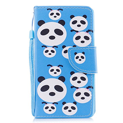 COZY HUT Cover per Huawei P10, [Kickstand] [Slot per Schede] [Chiusura Magnetica] Flip Caso in PU Pelle Premium Portafoglio Custodia per Huawei P10 - Puzzle Panda