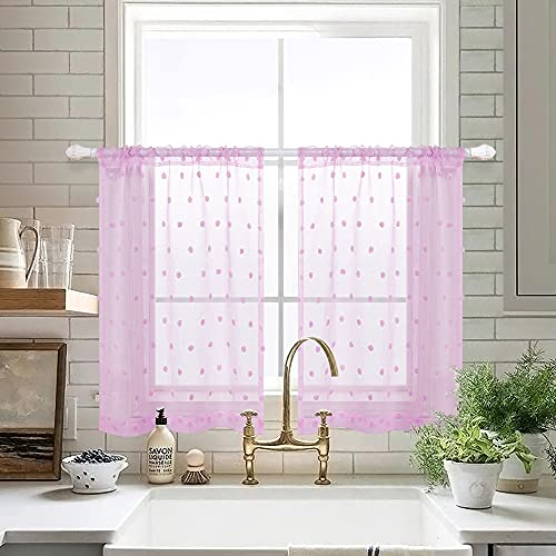 Short Curtains 36 Inch Length for Bathroom Windows Set 2 Pack Semi Sheer Pocket Pom Pom Textured Half Valances Small Bed Curtains for Girls Bedroom Kids Room Decor Kitchen 30x36 Long Lilac Purple