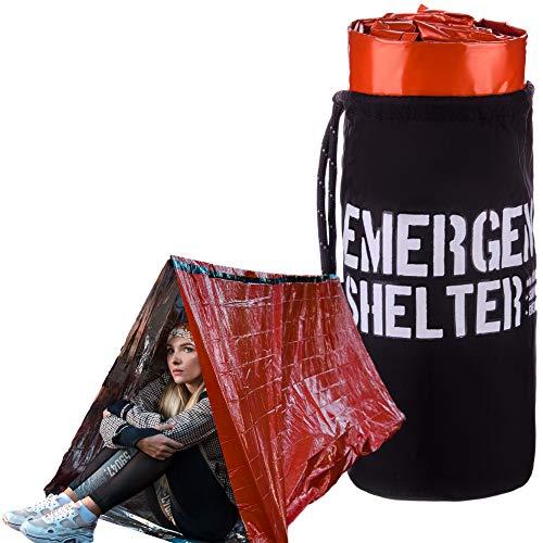 Refugio de emergencia - Tienda de campaña de emergencia - Mylar reflectante tienda de supervivencia - Incluye silbato, brújula y gancho de supervivencia