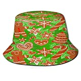huagu Cappello da Pescatore Unisex,Modello di Biscotti di Panpepato Buon Natale Senza Soluzione di,Cappello da Sole Pieghevole Cappello da Pesca Viaggio Spiaggia Esterno Cappellino Fisherman cap Hat