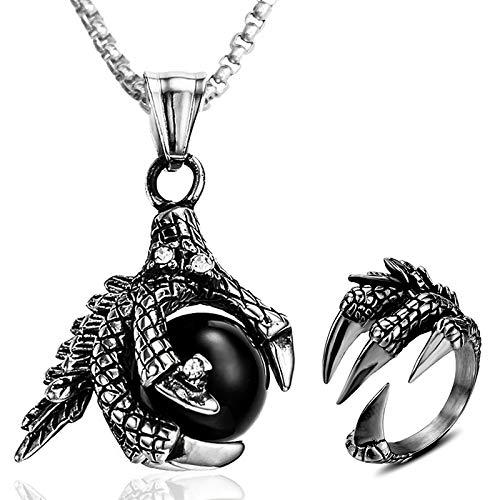 EQLEF Collar Garras dragón Anillo Garras dragón, Regalo de joyería de dragón Punk de Acero Inoxidable para Hombre (2 Piezas)