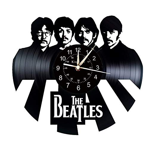Smotly Vinyl Wanduhr, kreativ Beatles Thema Design-Wanddekoration große Uhren, handgemachte Wanduhr Geschenke,D