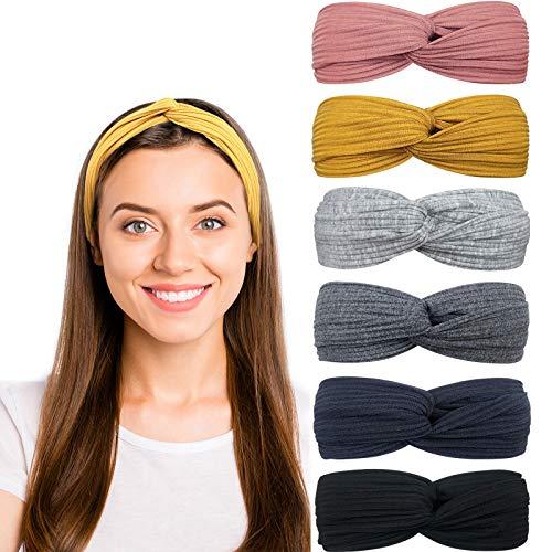 DRESHOW 6 Piezas Diadema para Mujer Boho Diademas Elástico Banda para el Cabello Turbante Banda Accesorio Pelo para Mujer Niñas
