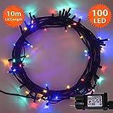 Luces de hadas de Navidad 100 LED Multicolor luces de árbol de interior y al aire libre de luces de cadena de Navidad 10m iluminado longitud con cable verde