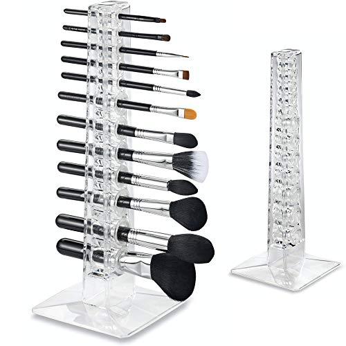 byAlegory Acrylic Makeup Brush Organizer & Drying Stand | 12 Space Storage 3 Hole Sizes Slim to...