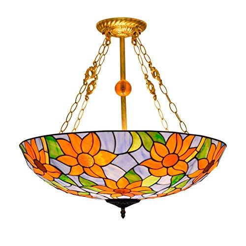 YALIXING Candelabros de Color - 24'Lámpara de Pendiente Creativa Europea Tiffany Colgante Luz de Luz Chandelier Manchado Sala Salón Salón Dormitorio Archillero Luces Creativas de decoración del hogar
