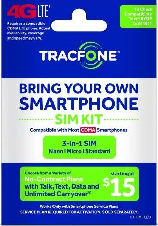 Tracfone - Bring Your Own Phone CDMA 3-in-1 Sim Card Kit (4G LTE) -Verizon Compatible