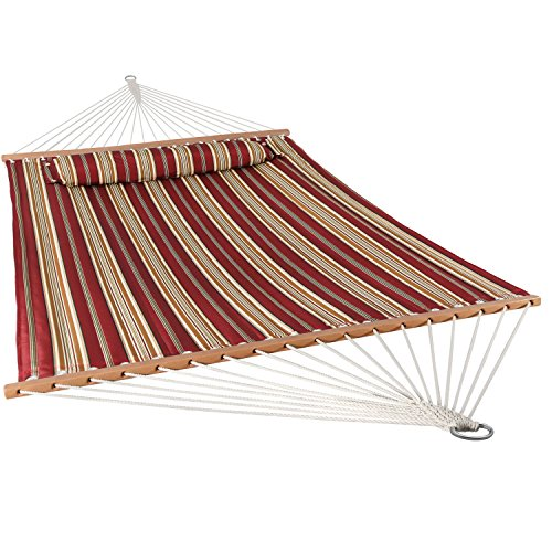 Sunnydaze Quilted Fabric Hammock Two Person with Spreader Bars Heavy Duty 450 Pound Capacity, Red Stripe