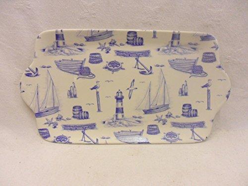 Heron Cross Pottery Motif Nautique Bleu Sandwich Plate