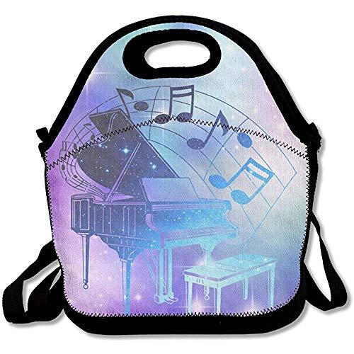 Jacklee Piano muziek notities Lunch Tas Tassen Geweldig Lunch Handtas Lunchbox Box Voor School Werk Outdoor