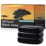 O Naturals African Black Soap Acne Problematic Skin Bar Organic Ingredients Luxurious Texture Triple Milled Bar Soap Moisturizing Shea Butter Natural Vegan Body & Face Soap Men-Women 3 Pcs 12 oz Total