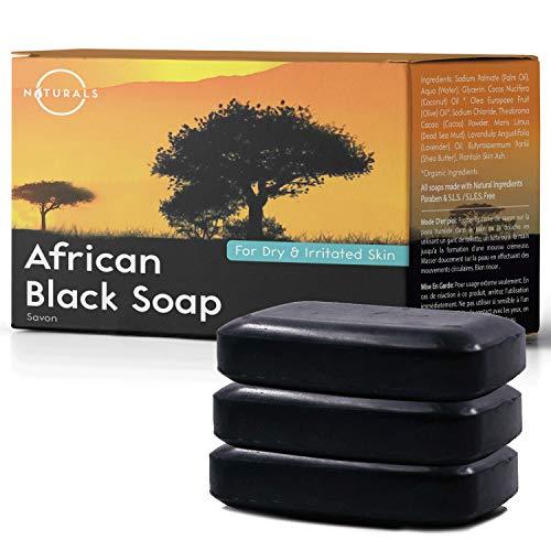 Afrikanische schwarze Seife African Black Soap gesamt 339g Natürliche Sheabutter Riegel Seife Feuchtigkeitsspendend Vegan Hand Körper Gesicht Seife Bio Zutaten Akne problematische Haut Männer Frauen