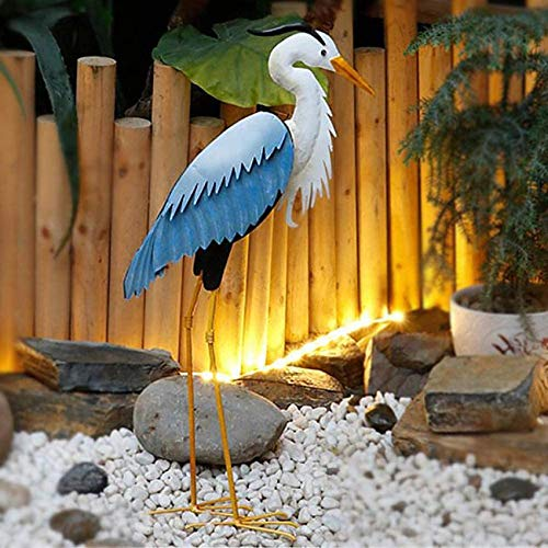 ADSE Metal BIRDS Garden Ornament Heron Ornament Sculpture Decoration Statue Lawn Egret Feature,A+Height70cm For home, outdoor decoration