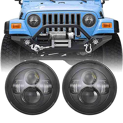 SUNPIE 7 inch Round CREE LED Headlights for Jeep Wrangler JK LJ CJ Rubicon Sahara Willys Hummer H1 H2