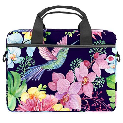 Laptop Shoulder Bag 15 Inch Briefcase Document Messenger Bag Business Handbag with Handle & Shoulder Strap Watercolor Bird Flower