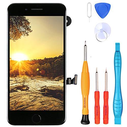 """LL TRADER Pantalla para iPhone 7 Plus Negro 5.5"""", Repuesto de Pantalla Táctil Retina LCD Digitalizador con Botón de Inicio, Sensor de Proximidad, Cámara Frontal, Altavoz de Auricular y Herramientas"""