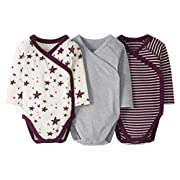 Moon and Back by Hanna Andersson Boys' 3 Pack Long Sleeve Side Snap Bodysuit
